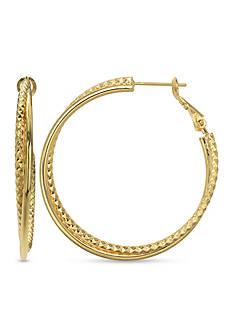 Belk Silverworks 24k Over Fine Silver-Plated 40-mm. Twist Hoop Earrings