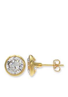 Belk Silverworks 24K Gold Over Fine Silver-Plated Bezel Earrings