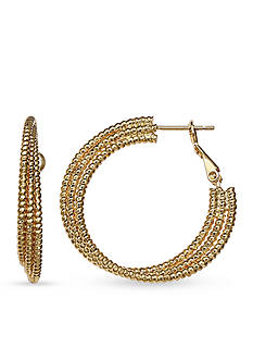 Belk Silverworks Gold-Tone Triple Diamond Cut Hoop Earrings