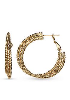 Belk Silverworks Gold-Tone Triple Diamond Cut Hoop