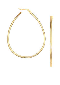 Belk Silverworks 24kt Gold Over Fine Silver-Plated 40-mm. Oval Hoop Earrings