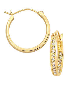 Belk Silverworks 24KT Over Fine Silver Plate 20-mm Crystal Hoop Earrings