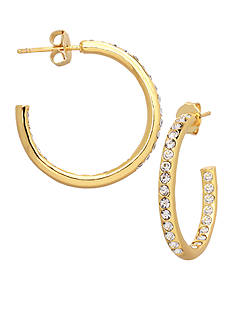 Belk Silverworks 24kt Gold Over Fine Silver-Plated 22-mm. Crystal C Hoop Earrings