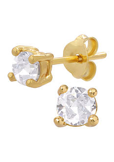 Belk Silverworks 24KT Gold Over Sterling Silver 4mm CZ Stud Earrings