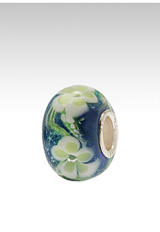Green Flowers on White Glass Originality Bead