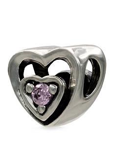 Belk Silverworks Heart Frame Cubic Zirconia Originality Charm