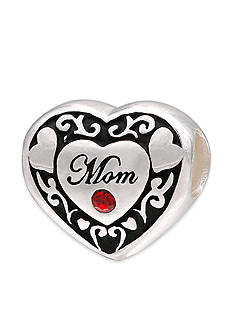 Belk Silverworks Oxidized Heart Mom Red Crystal Originality Bead