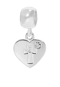 Belk Silverworks Drop Heart Disc with Cross Originality Bead