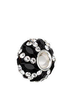 Belk Silverworks Sterling Silver Black and Clear Crystal Round Originality Bead