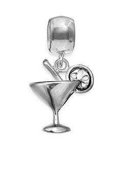 Belk Silverworks Sterling Silver Martini Glass Tropical Cocktail Drop Originality Bead