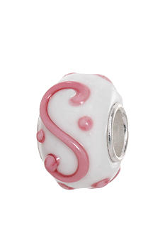 Belk Silverworks White and Pink Glass and Sterling Silver Originality Bead