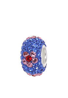 Belk Silverworks Blue and Pink Crystal Flower Originality Bead