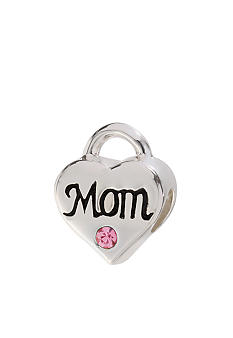 Belk Silverworks Pink Crystal Mom Heart Originality Bead