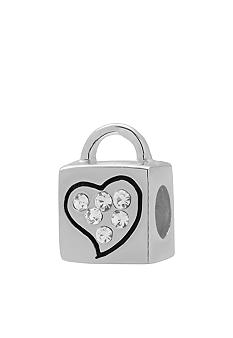 Belk Silverworks Heart Lock with Crystals Originality Bead