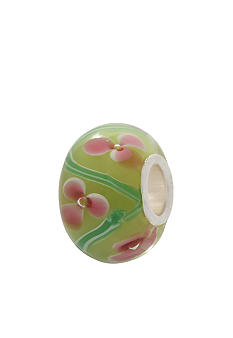 Belk Silverworks Light Green and Pink Flower Glass Originality Bead