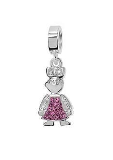 Belk Silverworks Pink Crystal Girl Originality Charm Bead