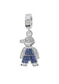 Belk Silverworks Blue Crystal Boy Originality Charm Bead