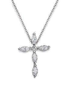 Belk Silverworks Everloved Cubic Zirconia Cross Pendant Necklace