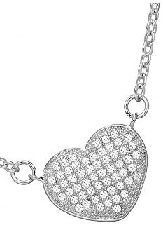 Belk Silverworks Everloved Fine Silver Plate Micro-Pave' Heart Necklace