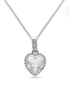 Belk Silverworks Swarovski Crystal Heart Frame Pendant Necklace
