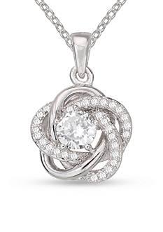 Belk Silverworks Cubic Zirconia Flower Love Knot Pendant Necklace