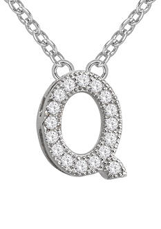 Belk Silverworks Rhodium-Plated Micro Pave Cubic Zirconia Initial Q Necklace