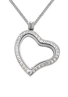 Belk Silverworks Charming Lockets Crystal Heart Shaped Locket Necklace