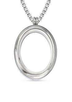 Belk Silverworks Stainless Steel Oval Charming Locket Pendant Necklace