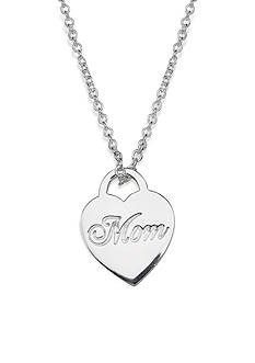 Belk Silverworks Fine Silver Plated Mom Heart Lock Pendant Necklace