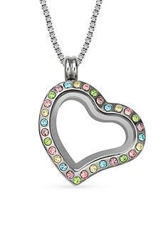 Belk Silverworks Charming Lockets Crystal Heart Locket