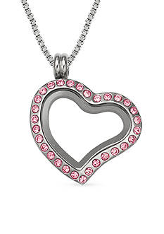 Belk Silverworks Charming Lockets Crystal Heart Locket