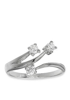 Belk Silverworks Fine Silver-Plated Cubic Zirconia Bypass Ring
