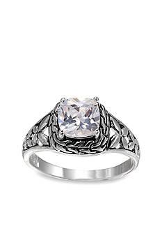 Belk Silverworks Fine Silver Plated Filigree Princess Cut Ring