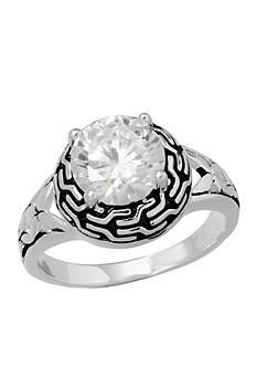 Belk Silverworks Fine Silver Plated Oxidized Cubic Zirconia Ring