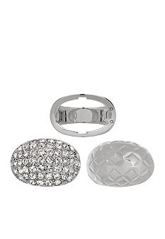 Belk Silverworks Fine Silver Plate Crystal and Diamond Cut Interchangeable Ring Size 8
