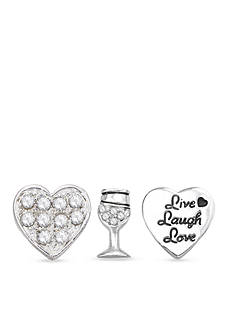 Belk Silverworks Charming Lockets Live Love Laugh Set of Three Charms