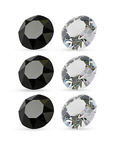 Belk Silverworks Charming Lockets Black and White Crystal 6 Piece Set