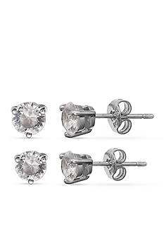 Belk Silverworks Fine Silver Plated Duo Stud Earrings