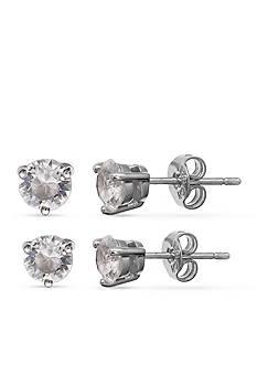 Belk Silverworks Fine Silver Plated Duo Stud Earrings