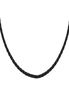 Belk Silverworks Black Braided Leather18-Inch Originality Bead Necklace