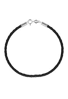 Belk Silverworks Black Braided Leather 7.5 in. Originality Bead Bracelet