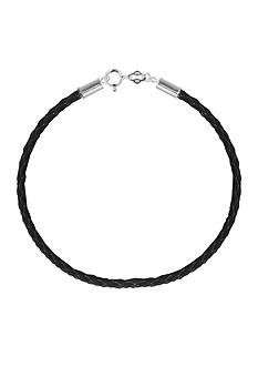 Belk Silverworks Black Braided Leather 7.5-in. Originality Bead Bracelet