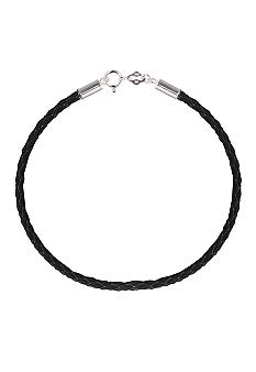 Belk Silverworks Black Braided Leather 8.5-Inch Originality Bead Bracelet