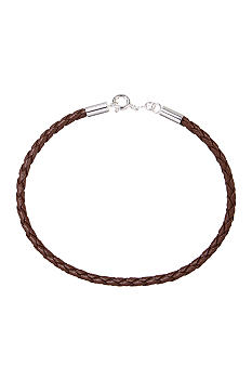 Belk Silverworks Brown Braided Leather Bracelet