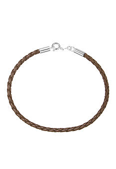 Belk Silverworks Tan Braided Leather 7.5-Inch Originality Bead Bracelet