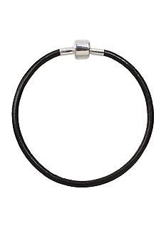Belk Silverworks Black Leather Bracelet
