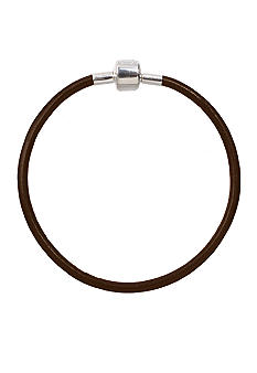 Belk Silverworks Brown Leather 8-Inch Originality Bead Bracelet