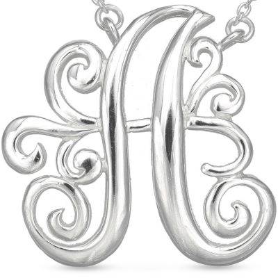 Belk Silverworks: A Belk Silverworks Fine Silver Plated Monogram Initial Pendant Necklace