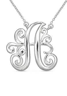 Belk Silverworks Fine Silver Plated Monogram Initial Pendant Necklace