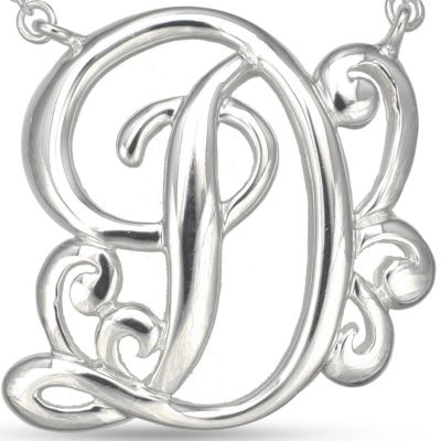Fashion Necklaces: D Belk Silverworks Fine Silver Plated Monogram Initial Pendant Necklace